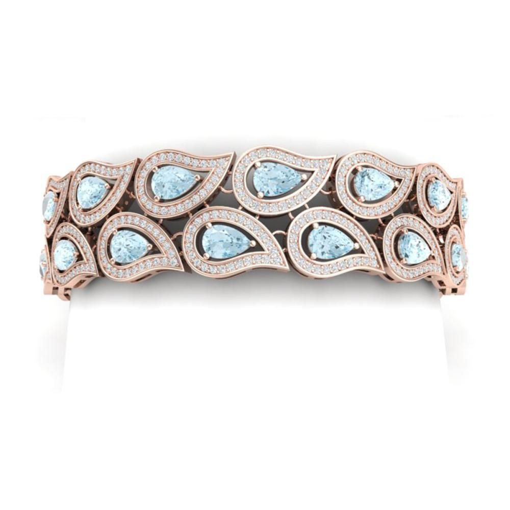 19.62 ctw Sky Topaz & VS Diamond Bracelet 18K Rose Gold - REF-763R6K - SKU:39490