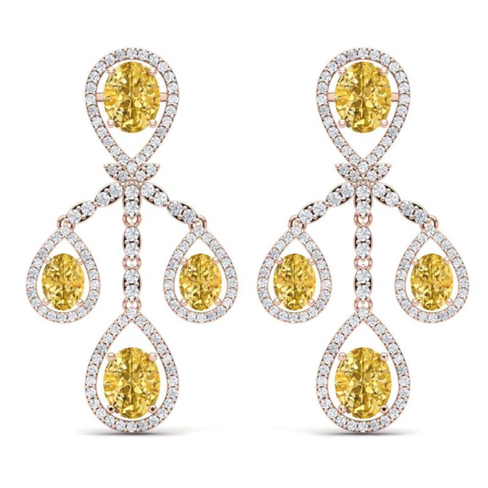 20.69 ctw Canary Citrine & VS Diamond Earrings 18K Rose Gold - REF-418Y2X - SKU:38587