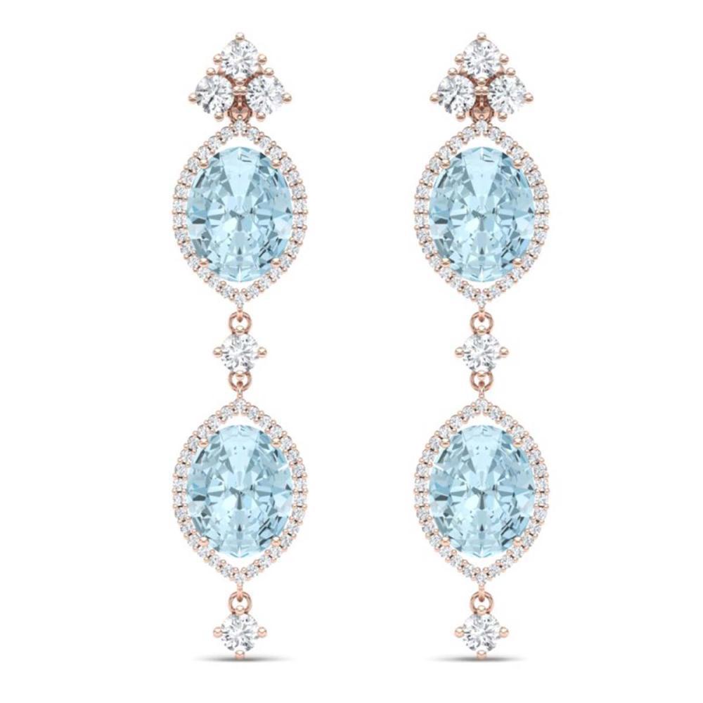 16.41 ctw Sky Topaz & VS Diamond Earrings 18K Rose Gold - REF-254A5V - SKU:38917