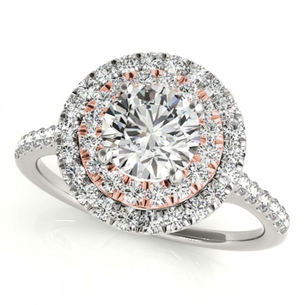 1 ctw VS/SI Diamond Solitaire Halo Ring 18K White & Rose Gold - REF-114R5K - SKU:26218