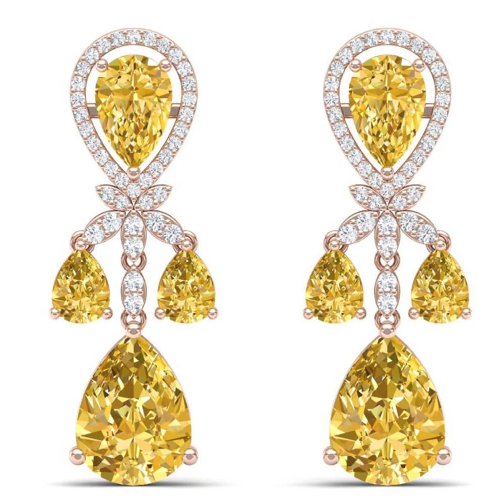 35.67 ctw Canary Citrine & VS Diamond Earrings 18K Rose Gold - REF-290N9A - SKU:38617