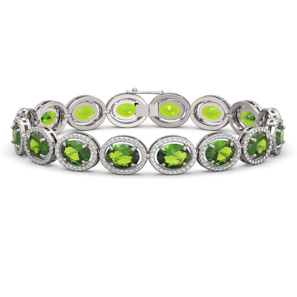 28.08 ctw Peridot & Diamond Halo Bracelet 10K White Gold - REF-313A5V - SKU:40724