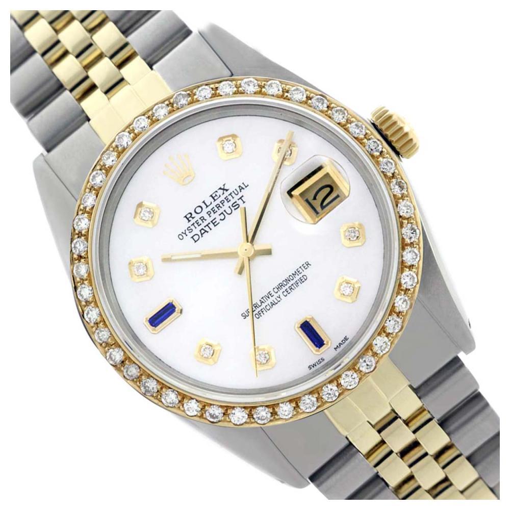 Lot 3528: Rolex Ladies Two Tone 14K Gold/SS, Diam Dial & Diam/Sapphire  Bezel, Sapphire Crystal - REF-440W4H