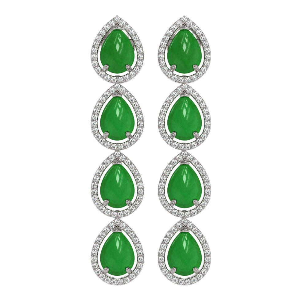 ctw jade diamond halo earrings 10k white gold ref 1. Black Bedroom Furniture Sets. Home Design Ideas