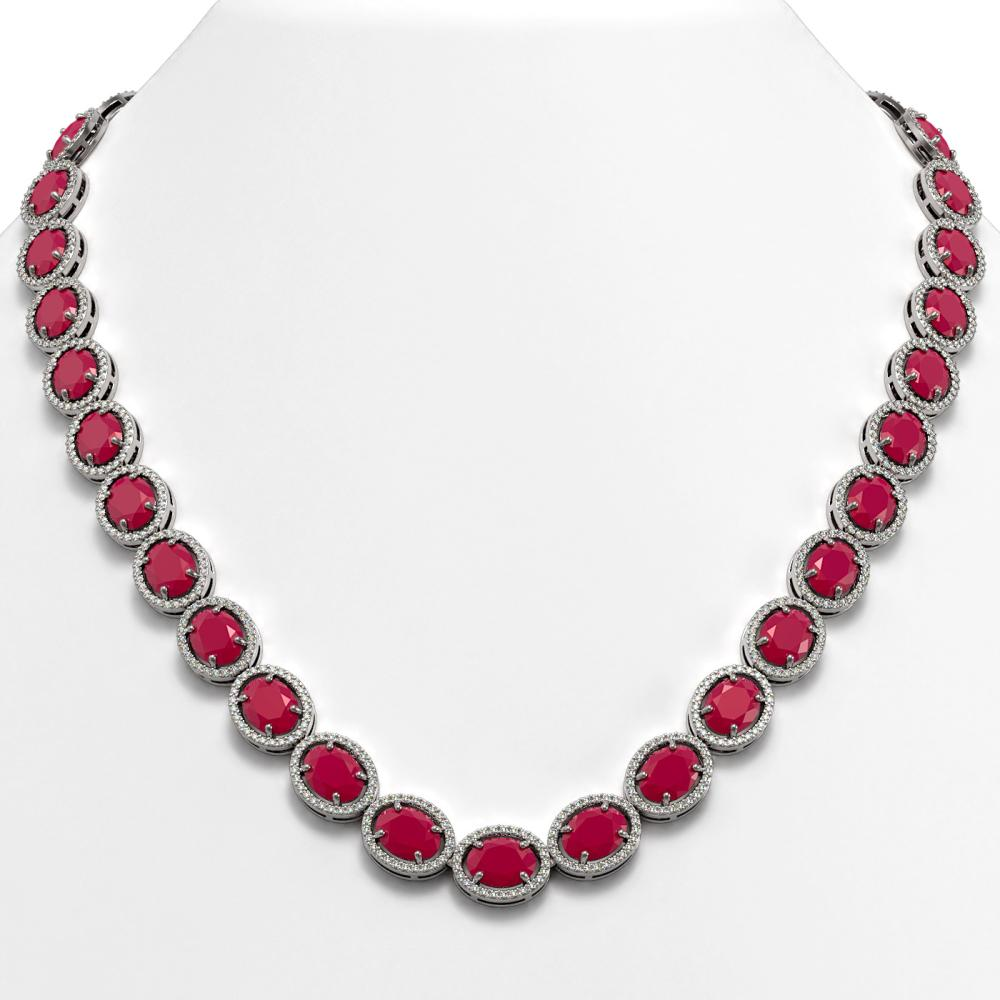 ctw ruby diamond halo necklace 10k white gold ref. Black Bedroom Furniture Sets. Home Design Ideas