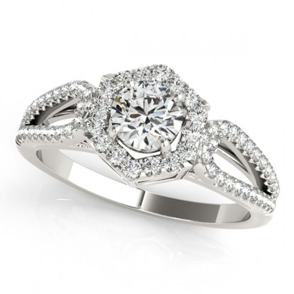 0.90 ctw VS/SI Diamond Halo Ring 18K White Gold - REF-102H8M - SKU:26754