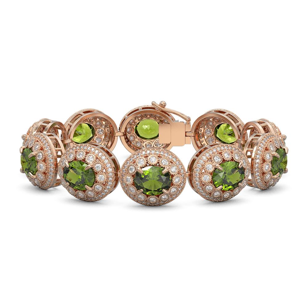 44.22 ctw Tourmaline & Diamond Bracelet 14K Rose Gold - REF-1342K4W - SKU:43731