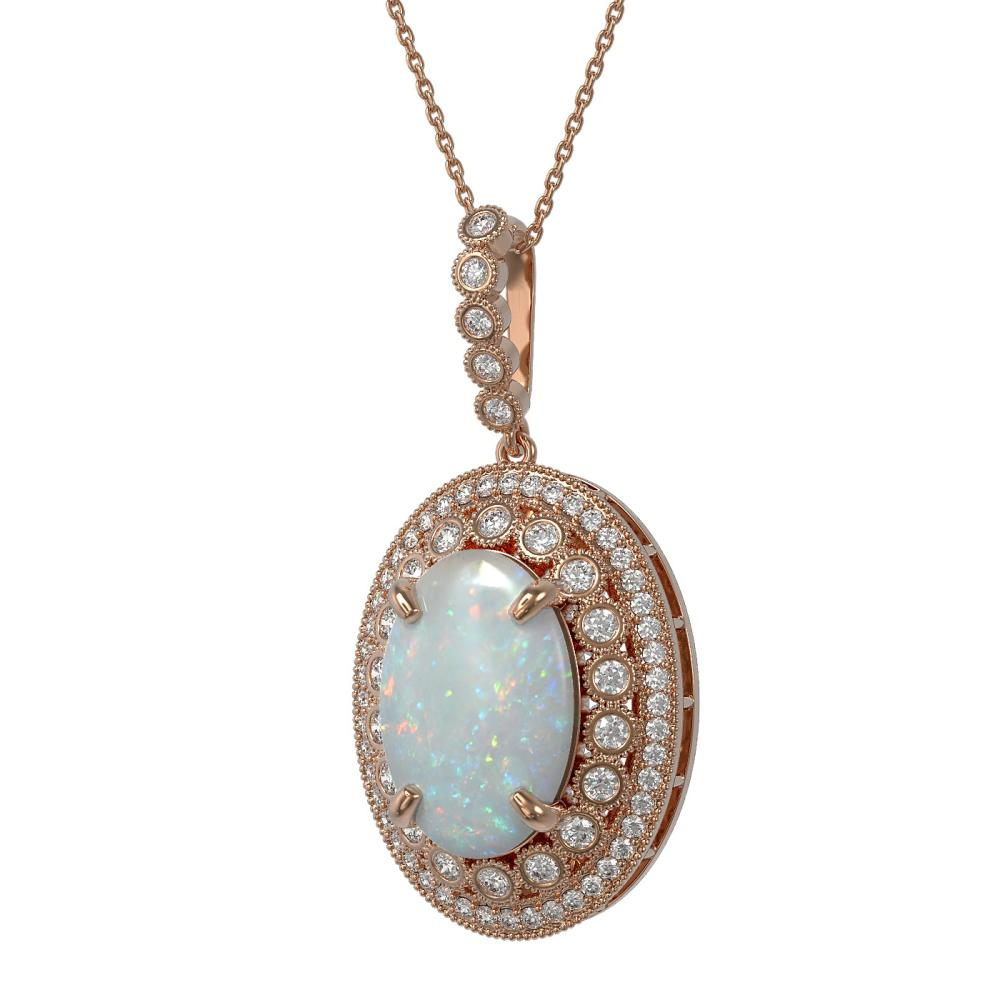 13.42 ctw Opal & Diamond Necklace 14K Rose Gold - REF-373N3A - SKU:43908