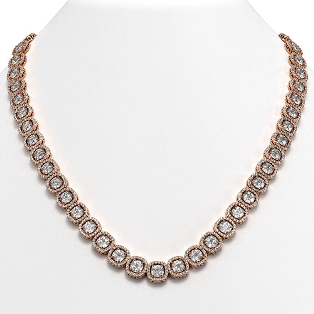 37.60 ctw Cushion Diamond Necklace 18K Rose Gold - REF-5219N7A - SKU:42714