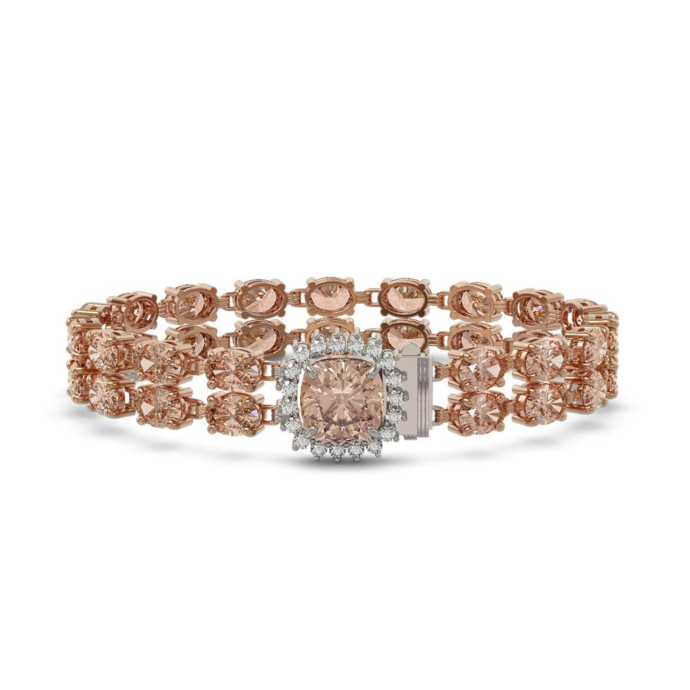 29.63 ctw Morganite & Diamond Bracelet 14K Rose Gold - REF-419X3R - SKU:45663