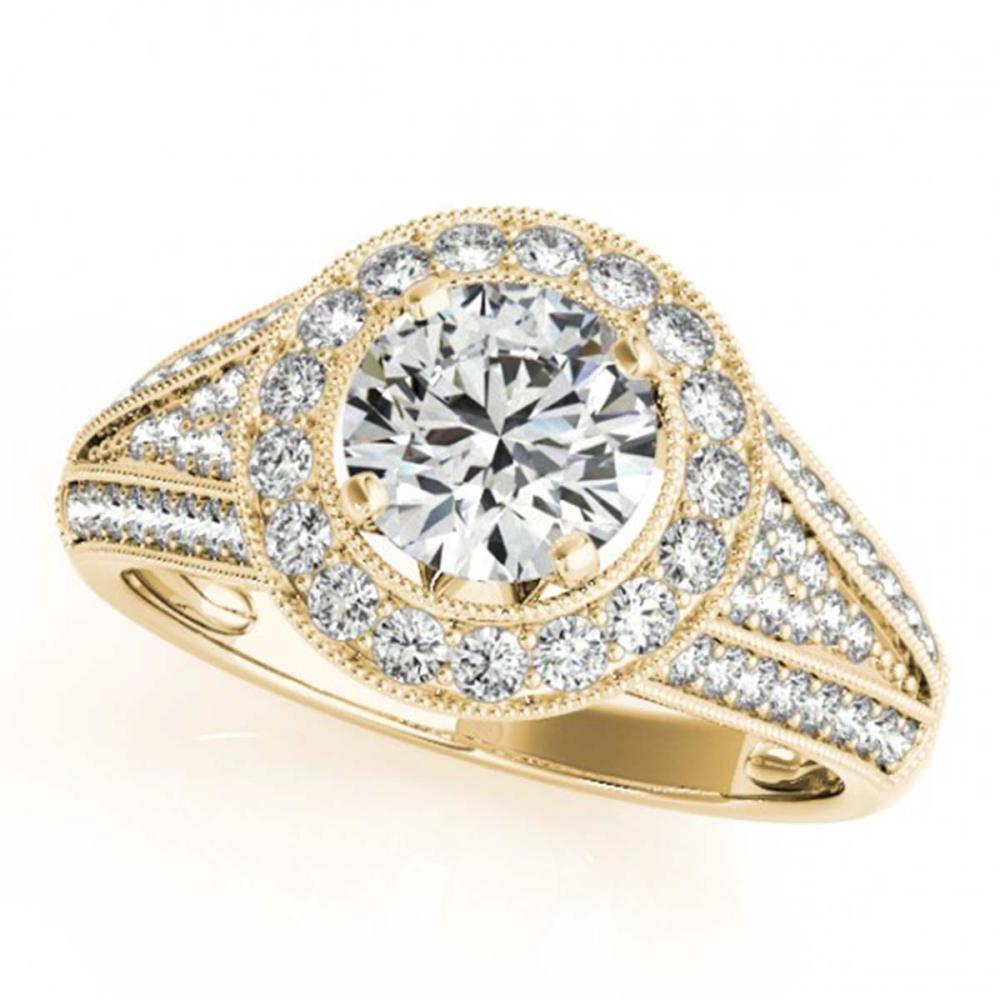 1.45 ctw VS/SI Diamond Halo Ring 18K Yellow Gold - REF-181H4M - SKU:26717