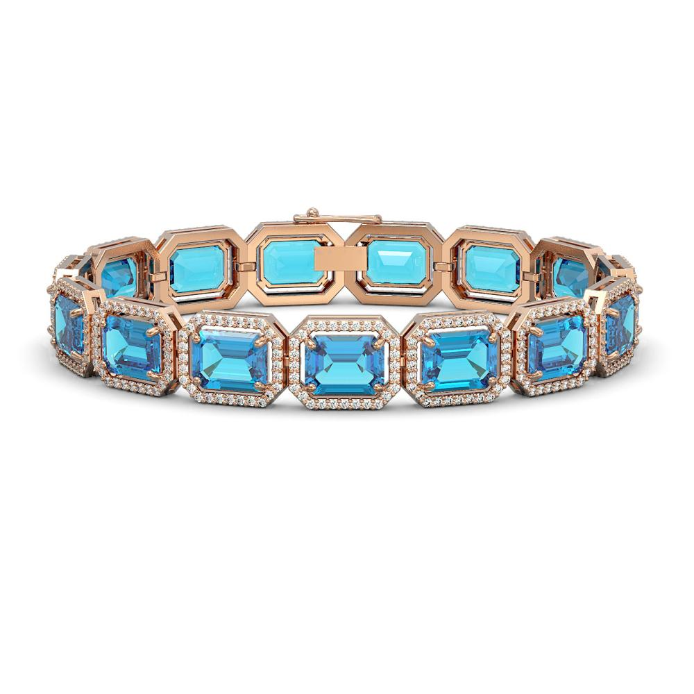 35.61 ctw Swiss Topaz & Diamond Halo Bracelet 10K Rose Gold - REF-337N3A - SKU:41556