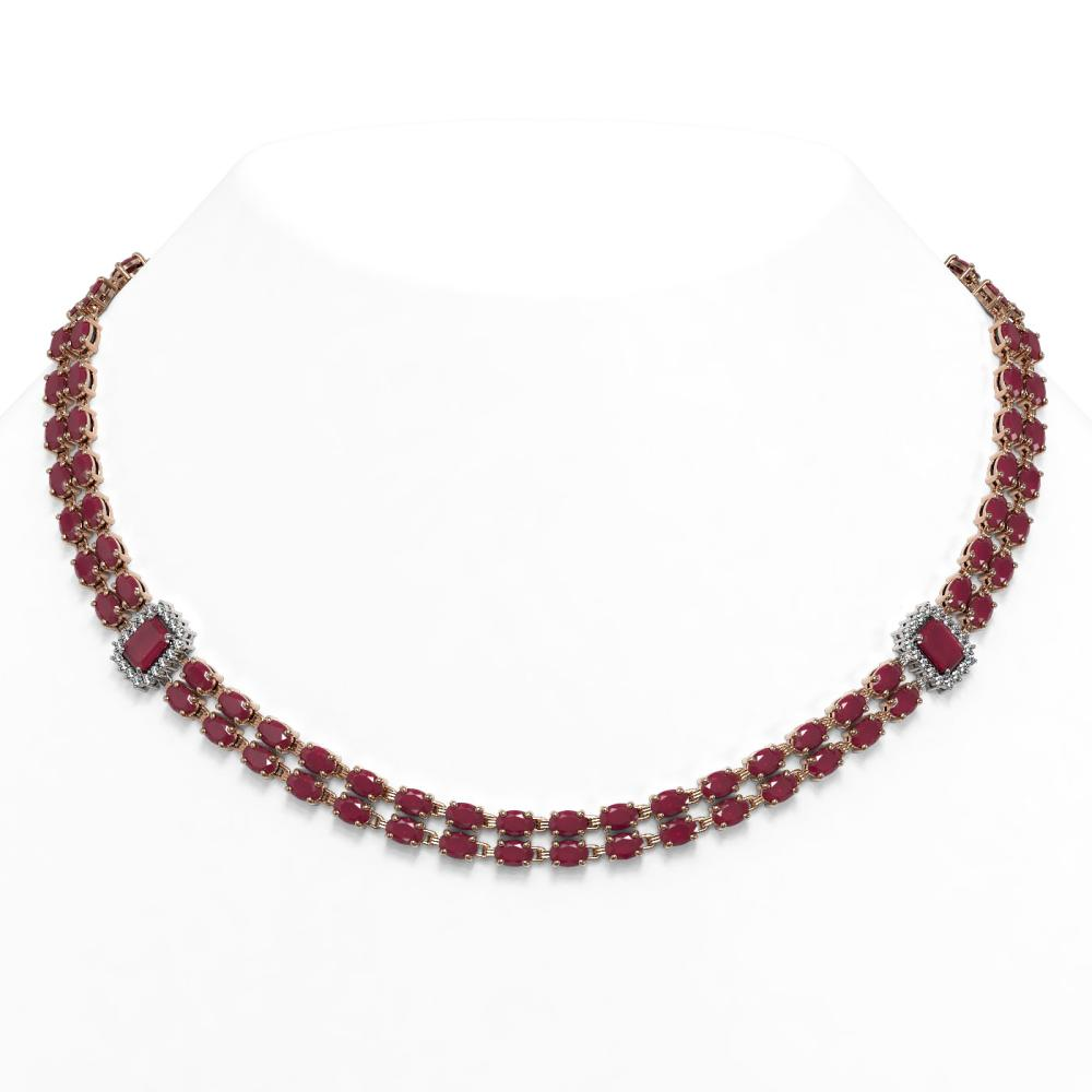 63.33 ctw Ruby & Diamond Necklace 14K Rose Gold - REF-569V8Y - SKU:45084