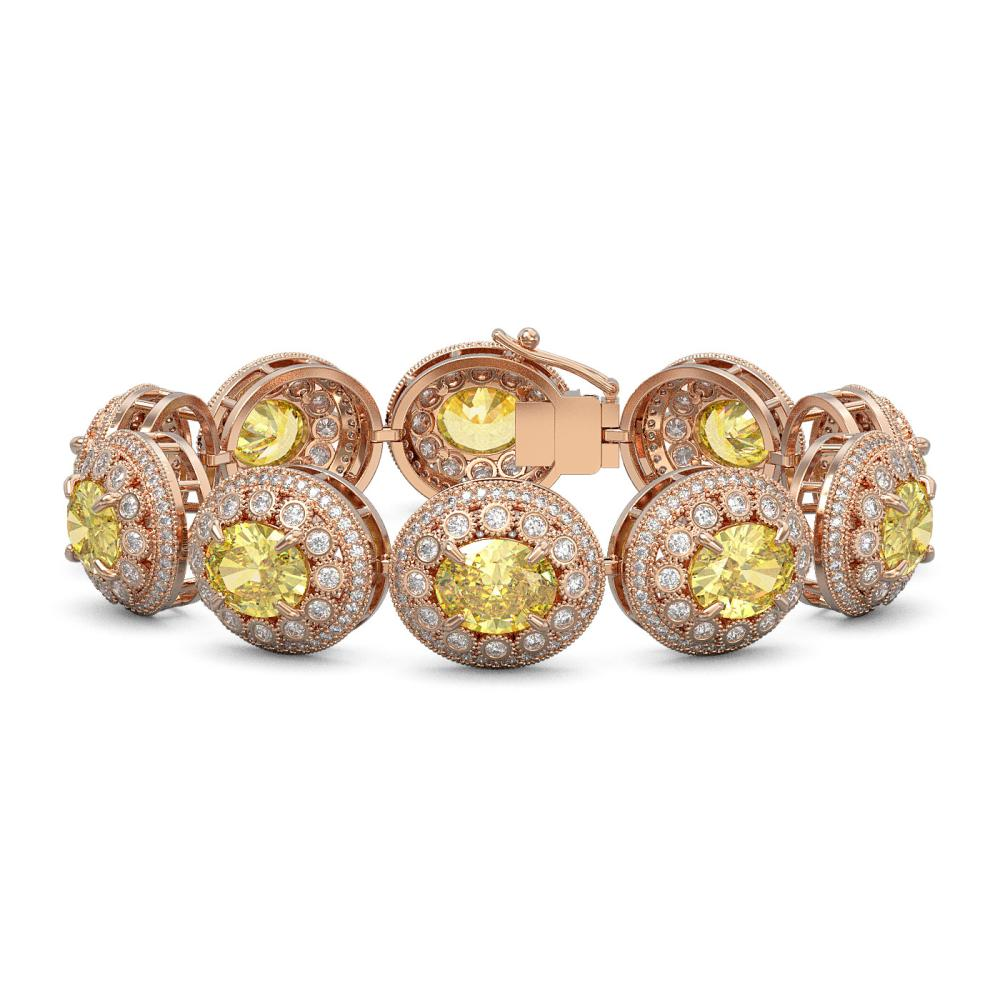 40.37 ctw Canary Citrine & Diamond Bracelet 14K Rose Gold - REF-1186Y4X - SKU:43725
