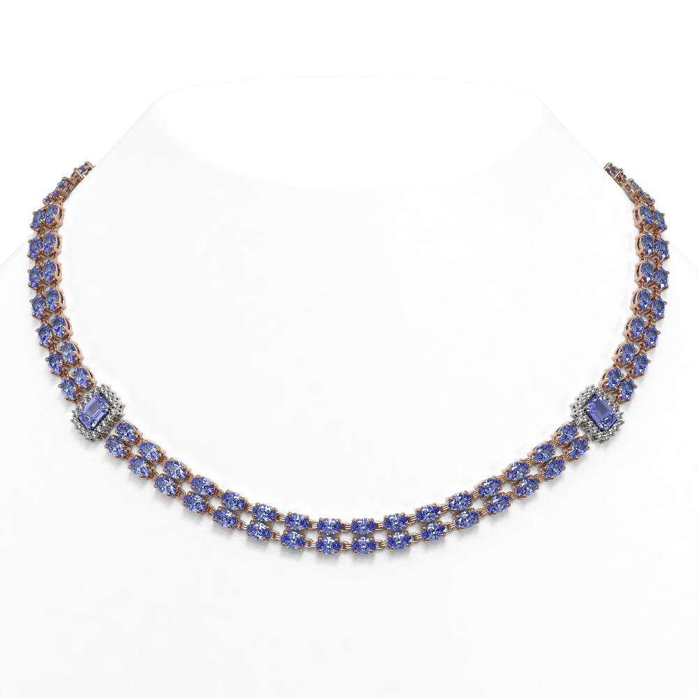 58.68 ctw Tanzanite & Diamond Necklace 14K Rose Gold - REF-720M4F - SKU:45090