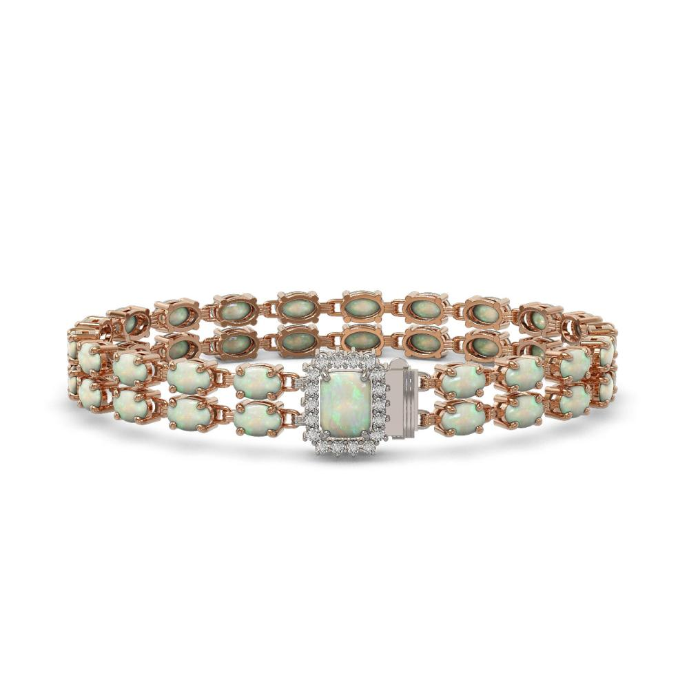 16.06 ctw Opal & Diamond Bracelet 14K Rose Gold - REF-239N6A - SKU:45780