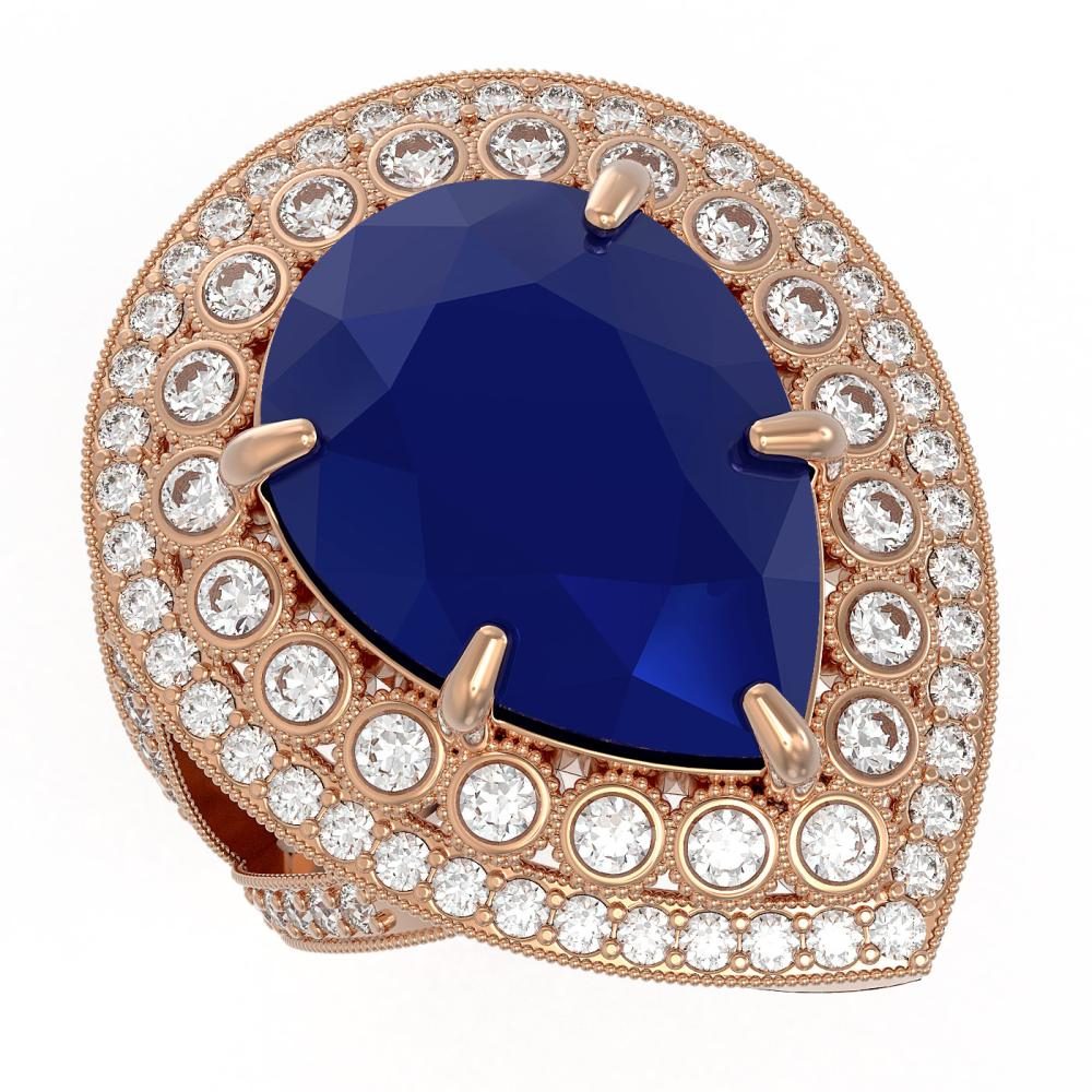 16.29 ctw Sapphire & Diamond Ring 14K Rose Gold - REF-302N2A - SKU:43287