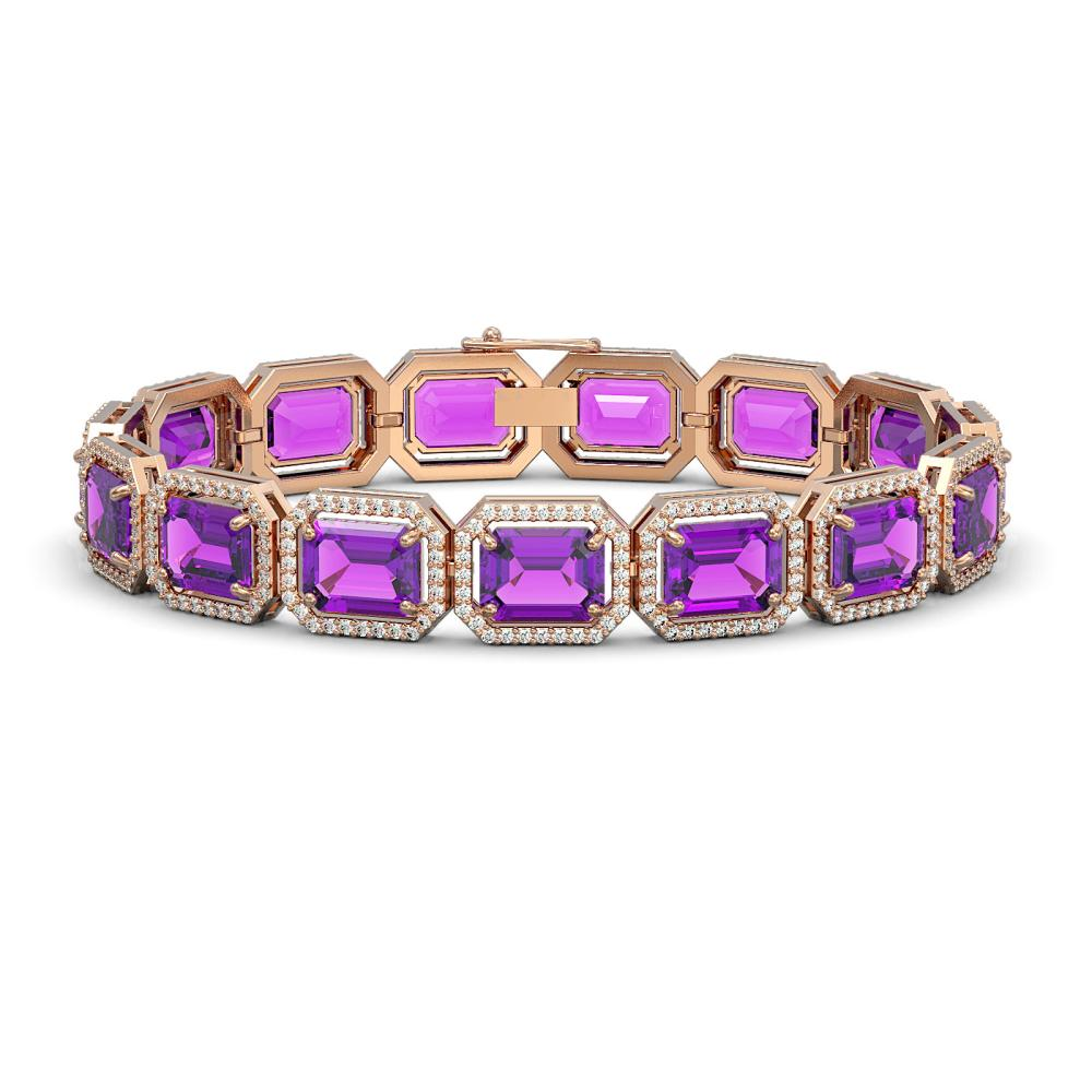 34.86 ctw Amethyst & Diamond Halo Bracelet 10K Rose Gold - REF-345A5V - SKU:41562