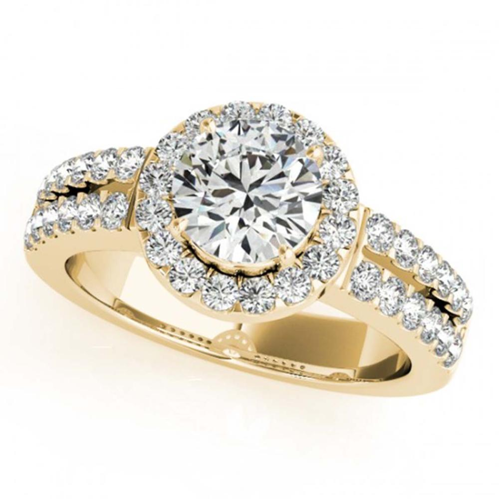 0.85 ctw VS/SI Diamond Halo Ring 18K Yellow Gold - REF-116R6K - SKU:26735