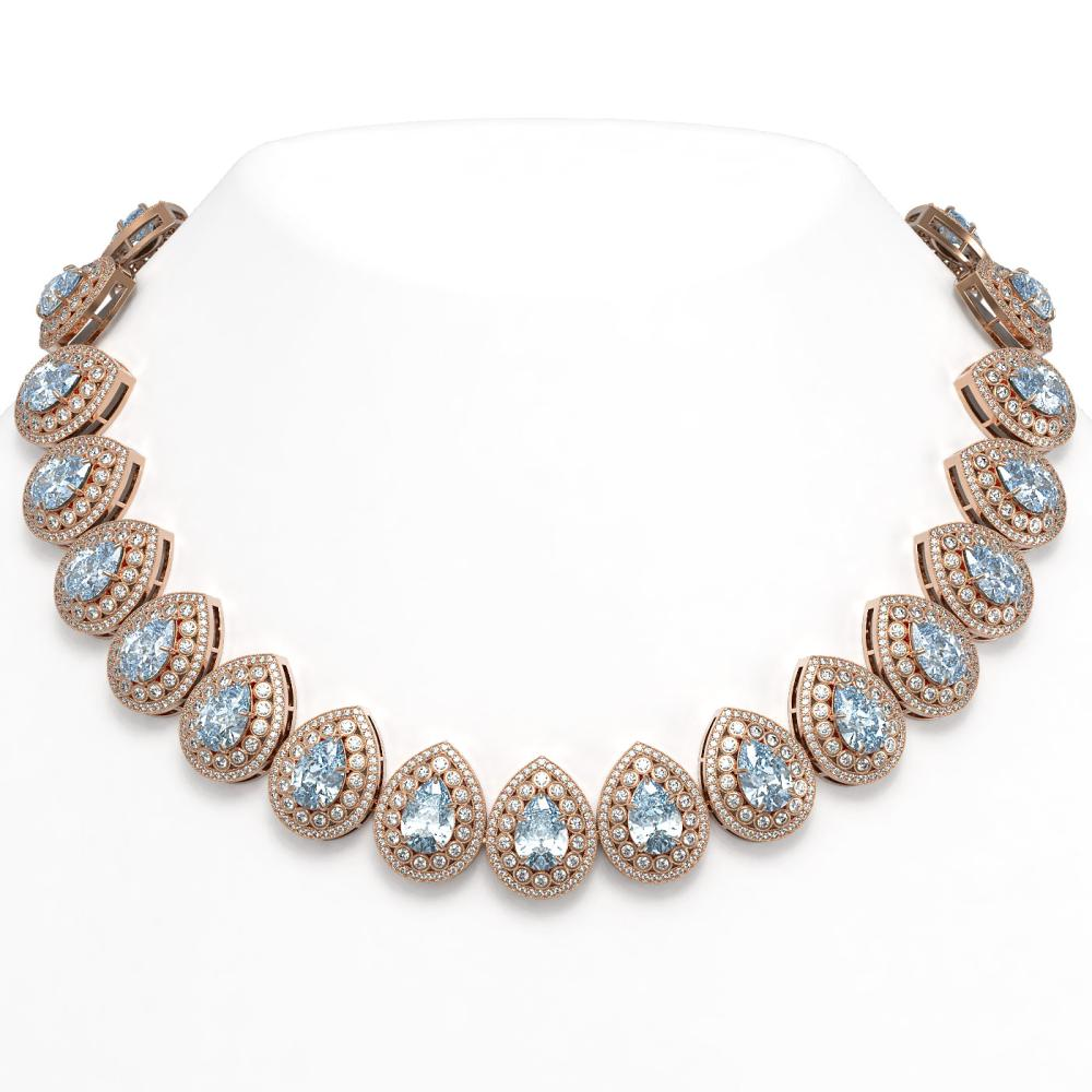 92.83 ctw Aquamarine & Diamond Necklace 14K Rose Gold - REF-3851A5V - SKU:43239