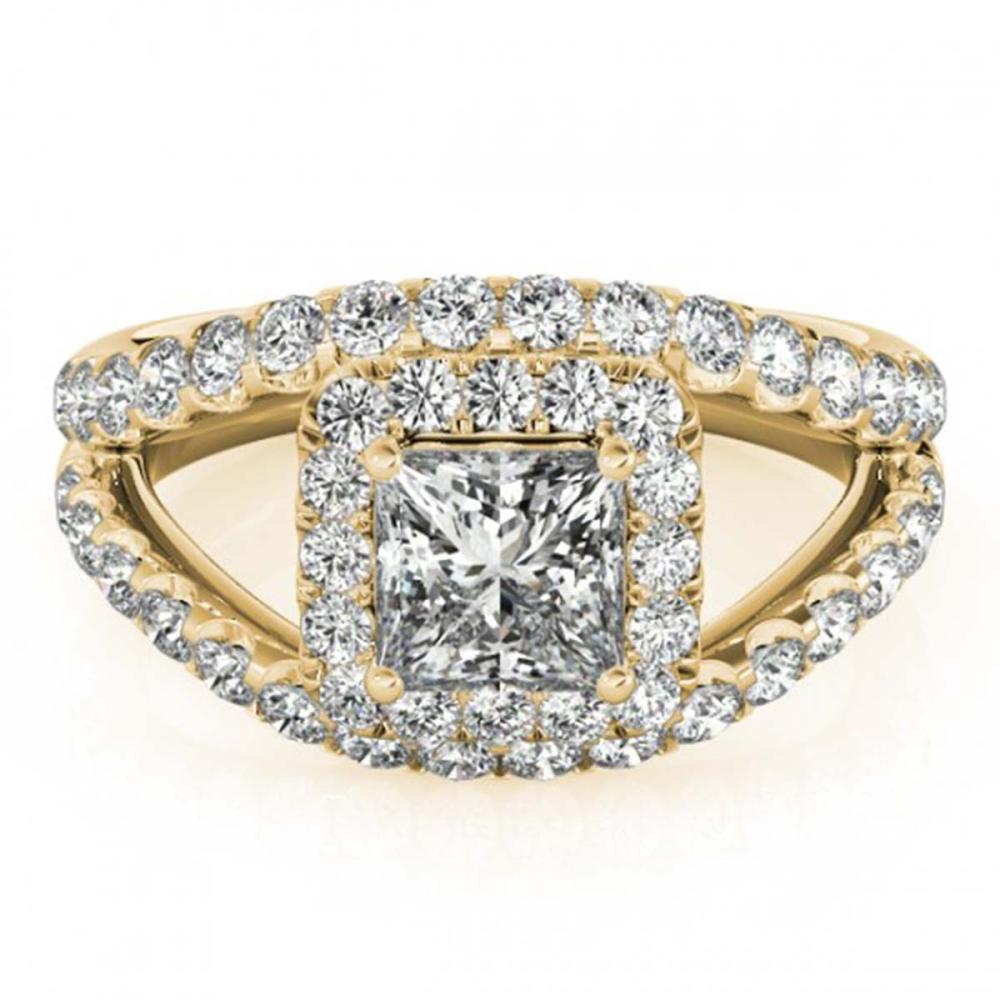 1.85 ctw VS/SI Princess Diamond Halo Ring 18K Yellow Gold - REF-196H2M - SKU:27197