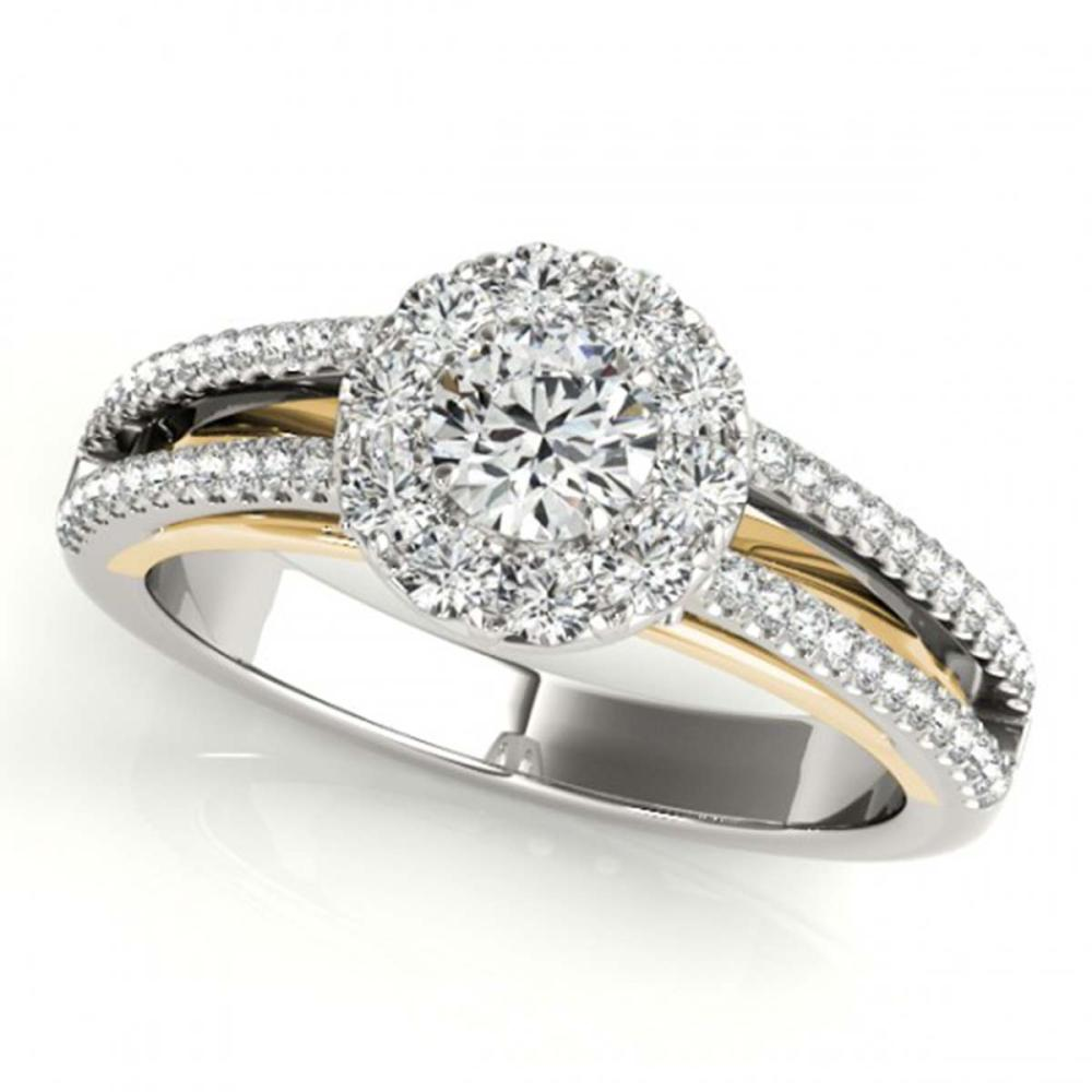 0.75 ctw VS/SI Diamond Solitaire Halo Ring 18K White & Yellow Gold - REF-97X9R - SKU:26633