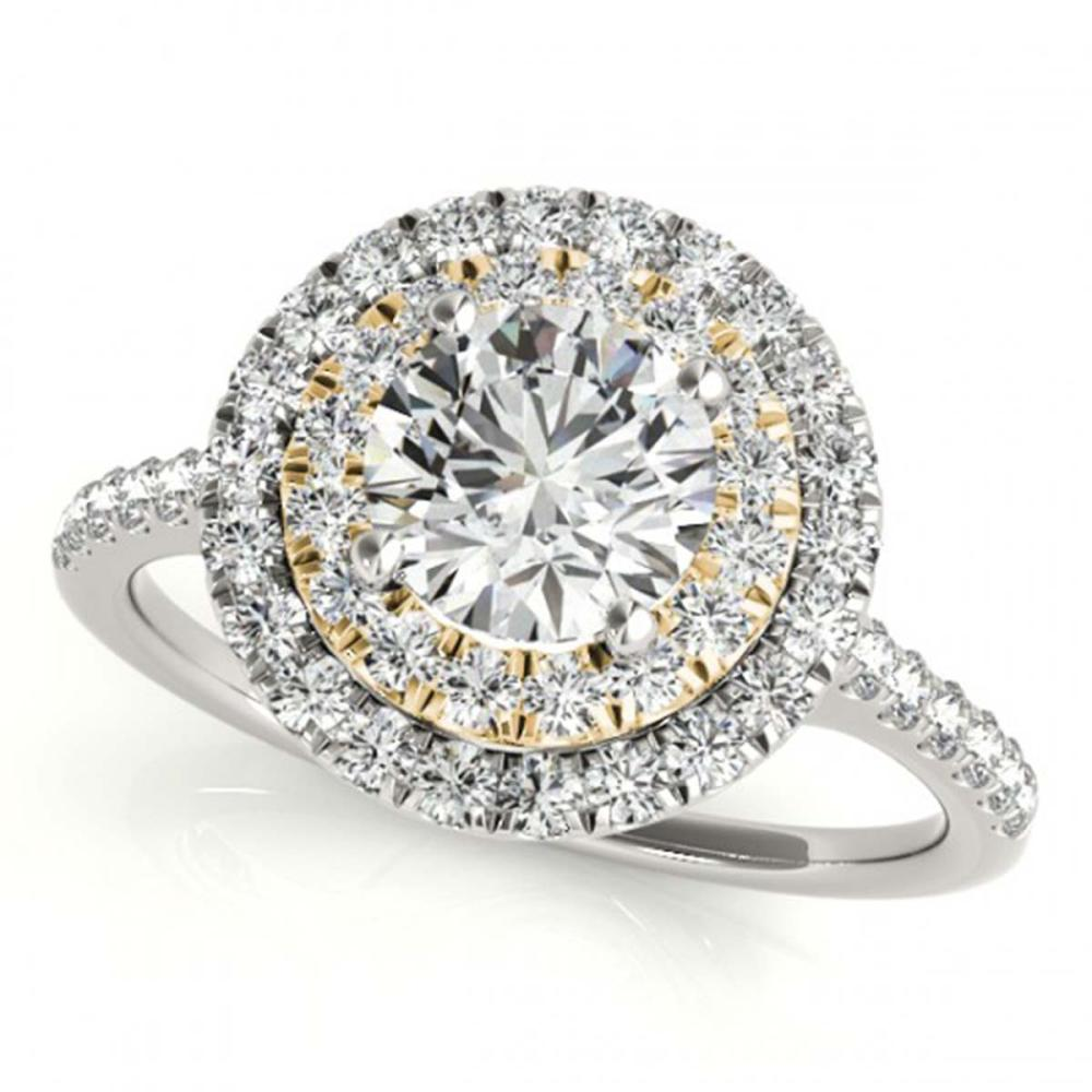 1.50 ctw VS/SI Diamond Solitaire Halo Ring 18K White & Yellow Gold - REF-313M6F - SKU:26229