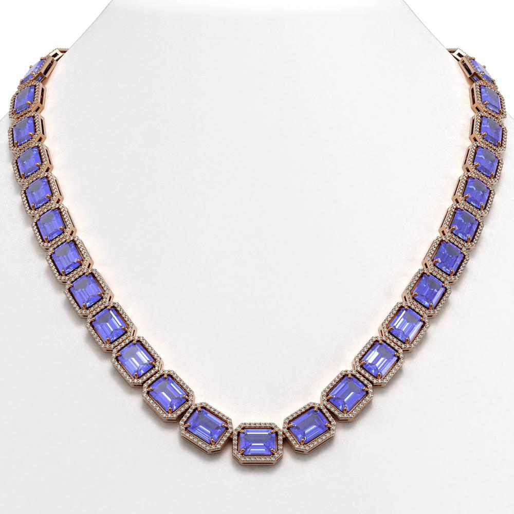 79.99 ctw Tanzanite & Diamond Halo Necklace 10K Rose Gold - REF-1704N2A - SKU:41484