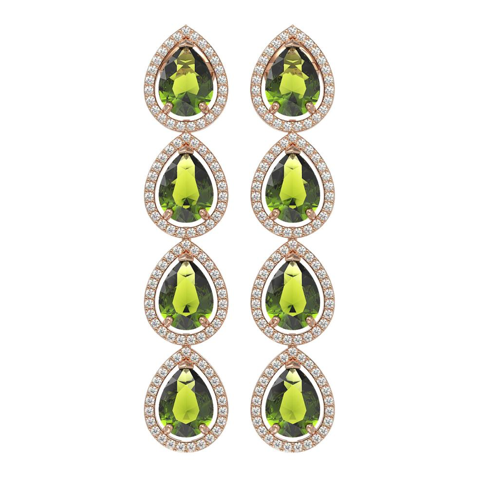 10.48 ctw Tourmaline & Diamond Halo Earrings 10K Rose Gold - REF-195X6R - SKU:41304