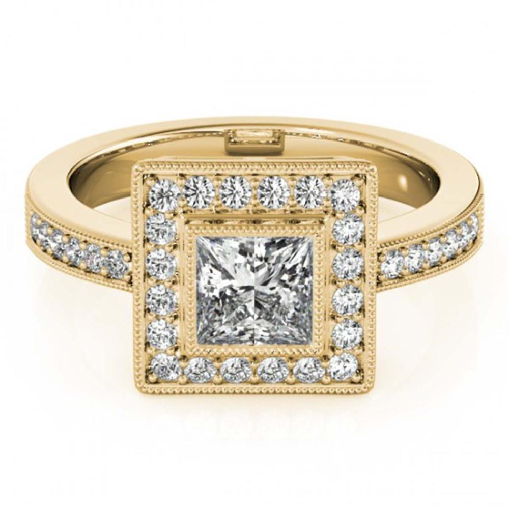 1.11 ctw VS/SI Princess Diamond Halo Ring 18K Yellow Gold - REF-156V8Y - SKU:27191