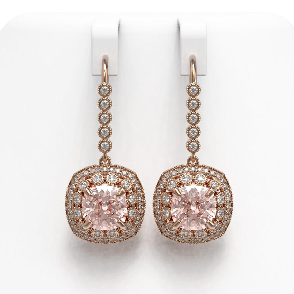 11.6 ctw Morganite & Diamond Earrings 14K Rose Gold - REF-393N3A - SKU:43974