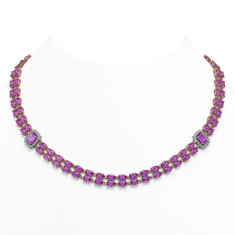 53.34 ctw Amethyst & Diamond Necklace 14K Rose Gold - REF-442A2V - SKU:45120