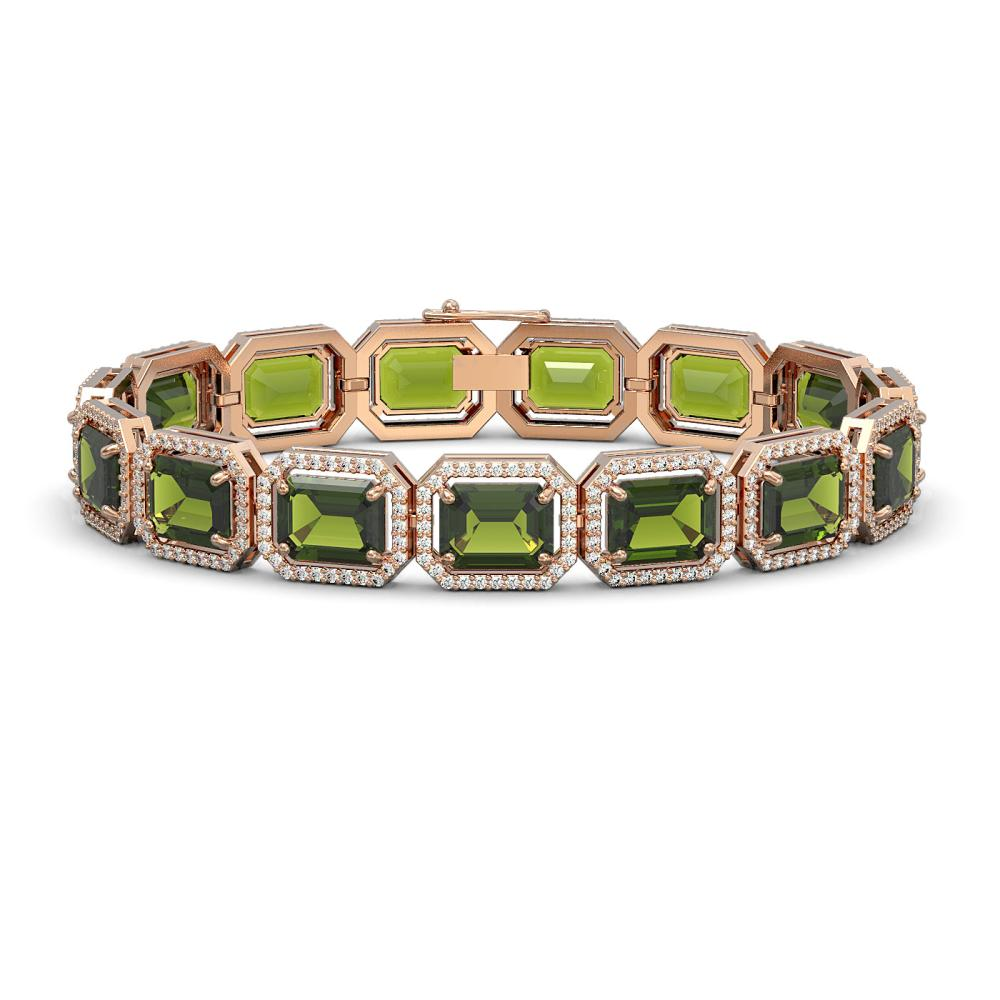 36.51 ctw Tourmaline & Diamond Halo Bracelet 10K Rose Gold - REF-477N3A - SKU:41544