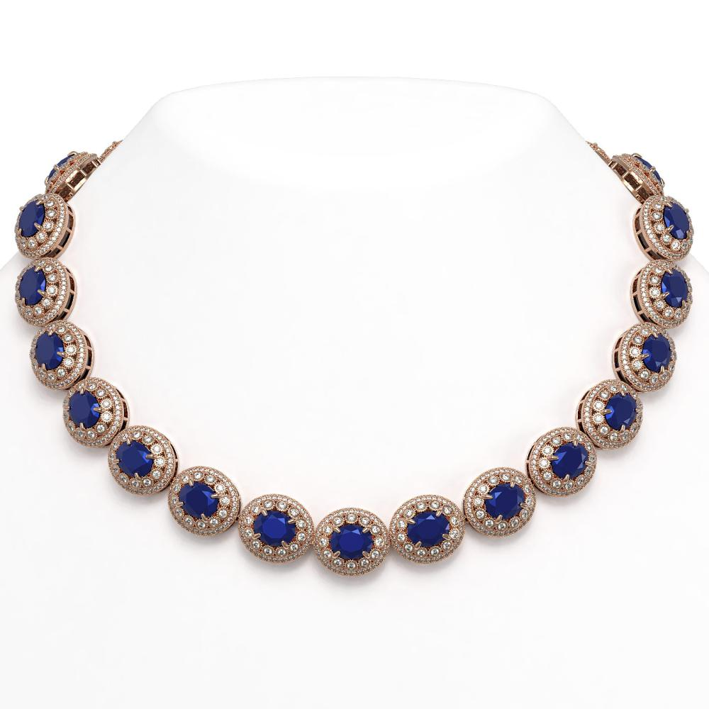 111.75 ctw Sapphire & Diamond Necklace 14K Rose Gold - REF-2935K8W - SKU:43689