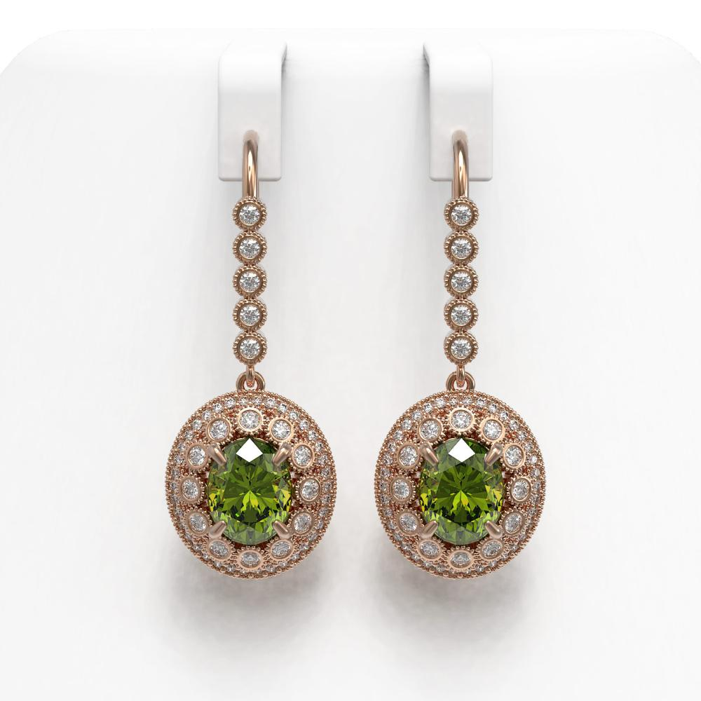 8.45 ctw Tourmaline & Diamond Earrings 14K Rose Gold - REF-250A7V - SKU:43623