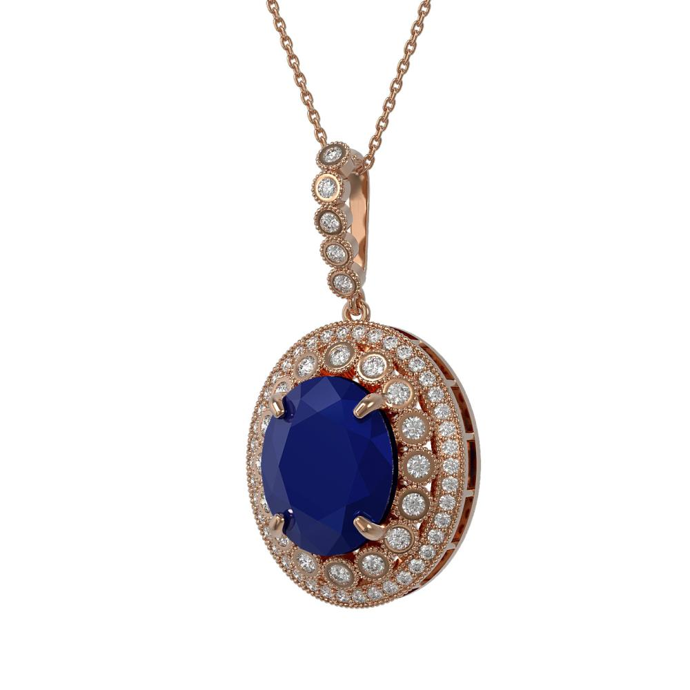 13.75 ctw Sapphire & Diamond Necklace 14K Rose Gold - REF-267M8F - SKU:43866