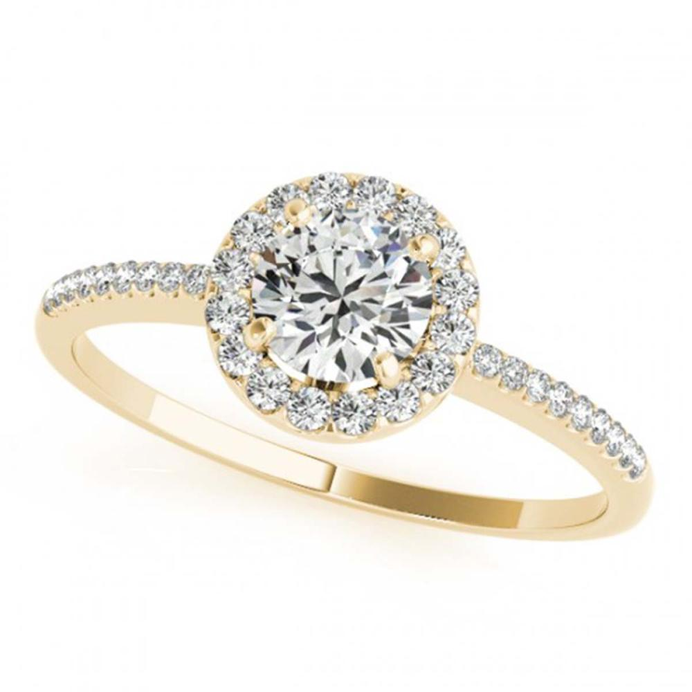 0.75 ctw VS/SI Diamond Halo Ring 18K Yellow Gold - REF-82H9M - SKU:26349