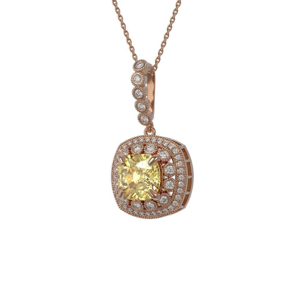 7.23 ctw Canary Citrine & Diamond Necklace 14K Rose Gold - REF-133V3Y - SKU:44016