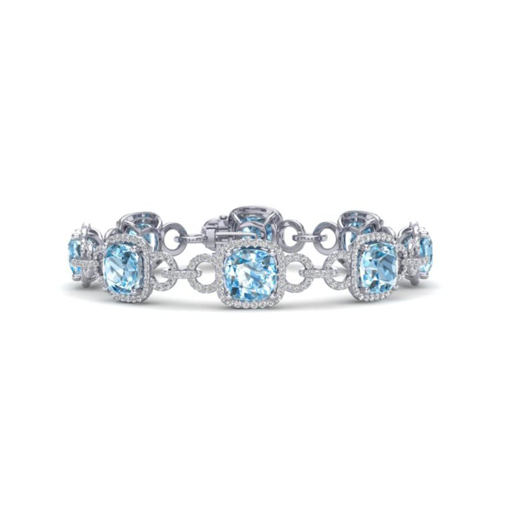 30 ctw Topaz & VS/SI Diamond Bracelet 14K White Gold - REF-368V9Y - SKU:23032