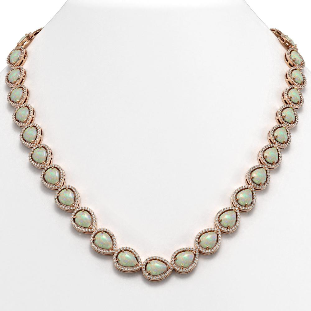 36.48 ctw Opal & Diamond Halo Necklace Rose 10K Rose Gold - REF-685W6H - SKU:41202
