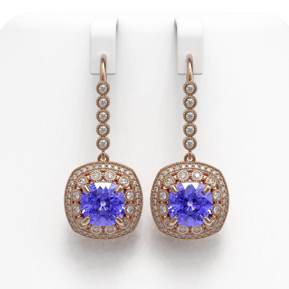 13.4 ctw Tanzanite & Diamond Earrings 14K Rose Gold - REF-420N5A - SKU:43962