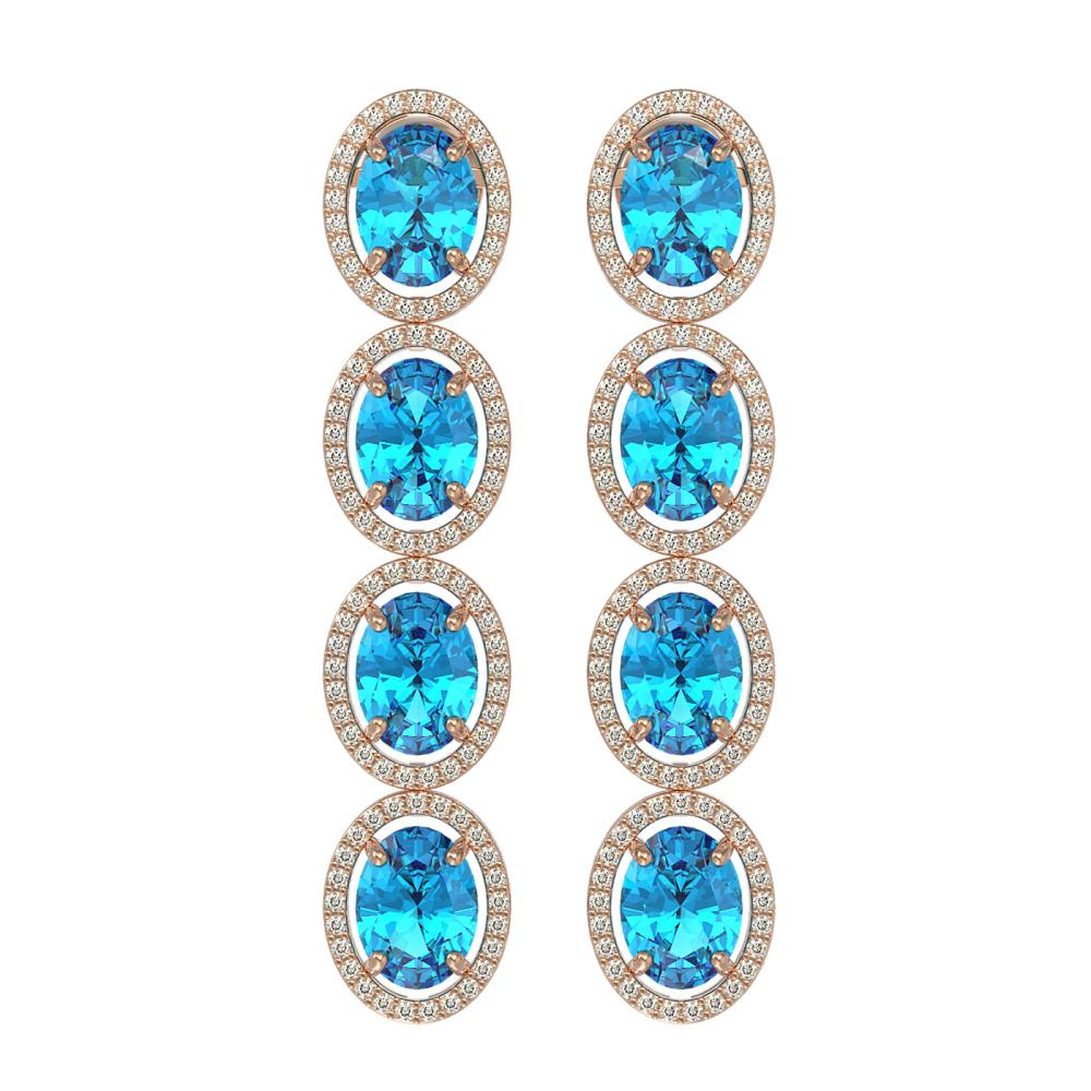 14.76 ctw Swiss Topaz & Diamond Halo Earrings 10K Rose Gold - REF-141H3M - SKU:40779