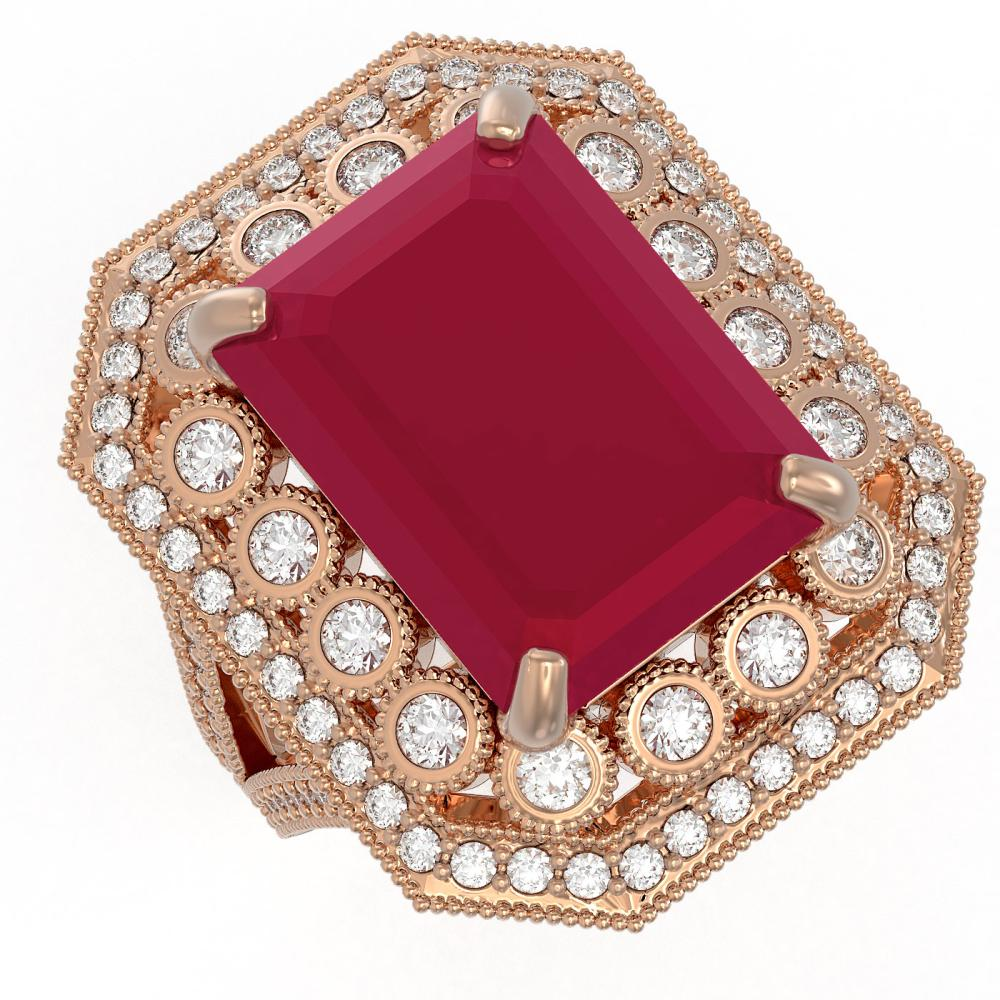 16.44 ctw Ruby & Diamond Ring 14K Rose Gold - REF-309R3K - SKU:43548