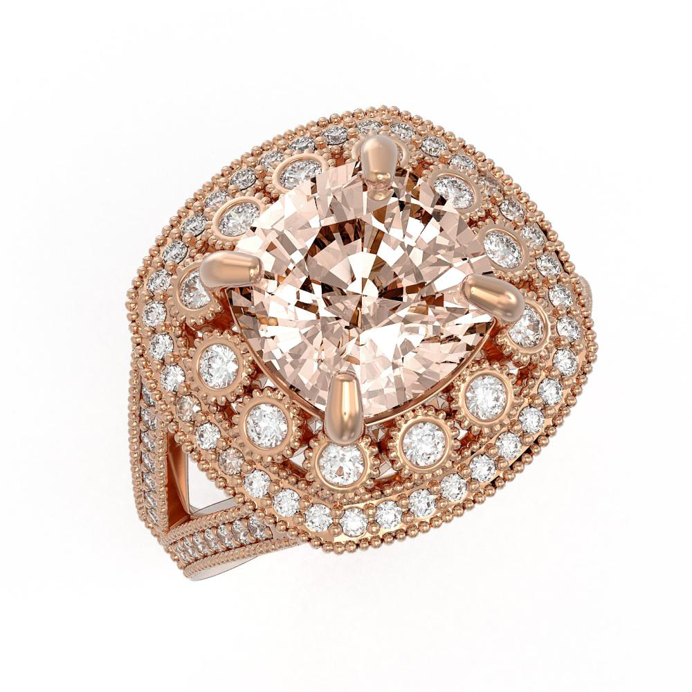 5.82 ctw Morganite & Diamond Ring 14K Rose Gold - REF-212M4F - SKU:43950