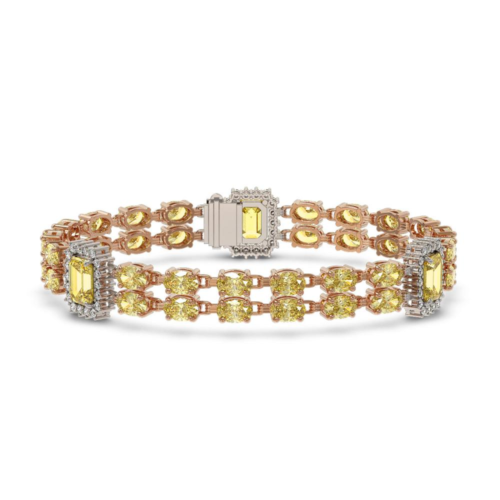 25.66 ctw Citrine & Diamond Bracelet 14K Rose Gold - REF-247M3F - SKU:45180