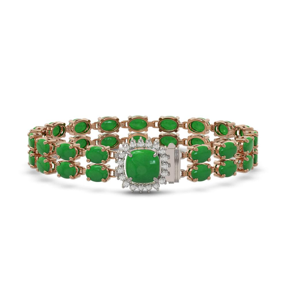 31.28 ctw Jade & Diamond Bracelet 14K Rose Gold - REF-202R9K - SKU:45705