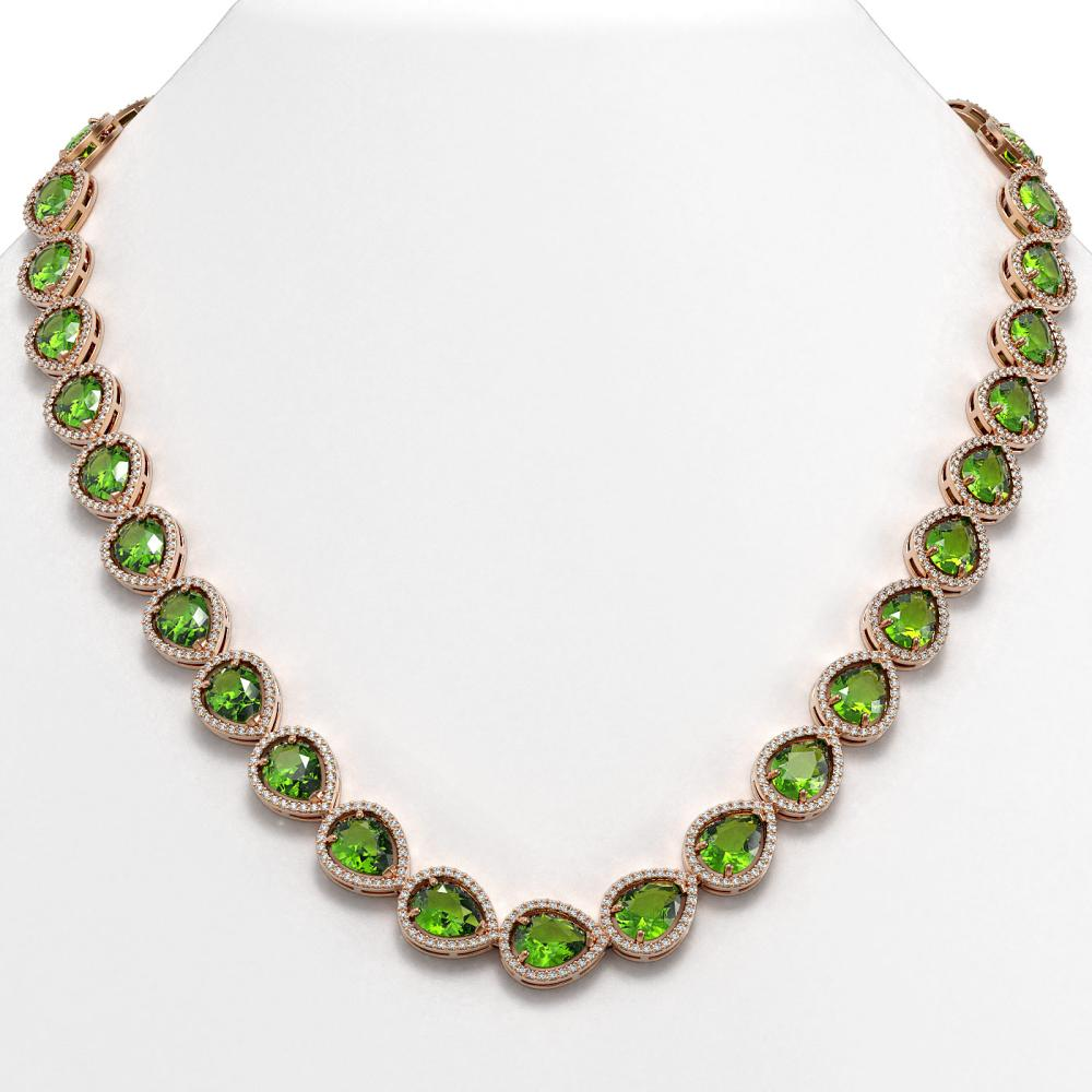 33.6 ctw Peridot & Diamond Halo Necklace 10K Rose Gold - REF-675R3K - SKU:41214