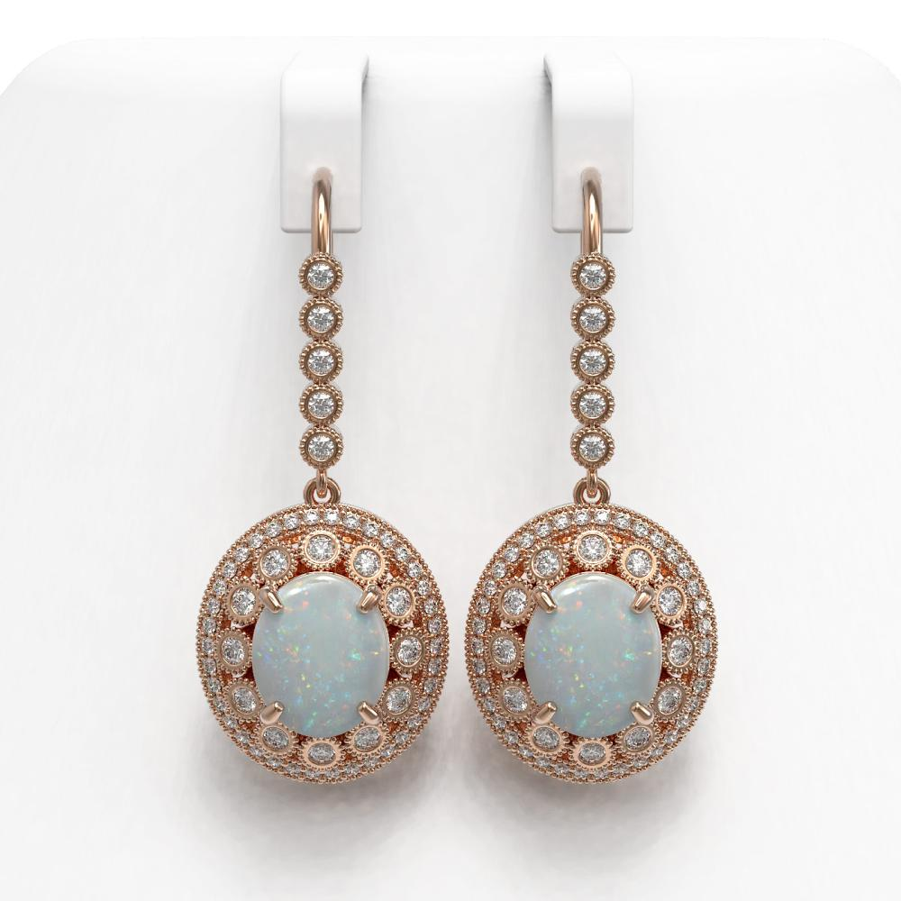 10.26 ctw Opal & Diamond Earrings 14K Rose Gold - REF-346F5N - SKU:43782