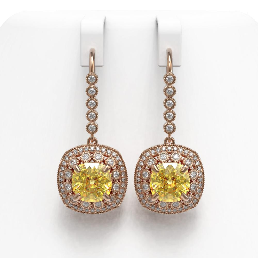 14.4 ctw Canary Citrine & Diamond Earrings 14K Rose Gold - REF-239N5A - SKU:43968