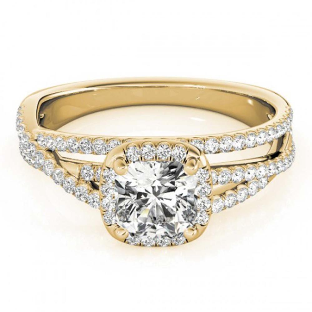1 ctw VS/SI Cushion Diamond Halo Ring 18K Yellow Gold - REF-137F5N - SKU:27092